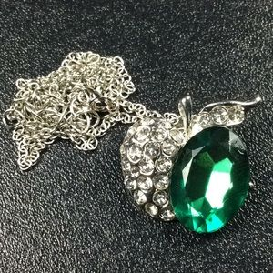 New Green and Silver Apple necklace